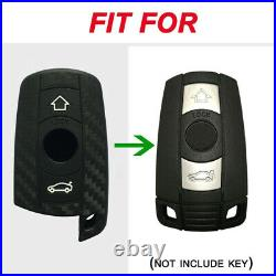 Carbon Fiber Pattern Soft Silicone Car Key Fob Cover for BMW 1 3 5 Series X5 X6