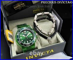NEW Invicta Men 52mm Grand Pro Diver ANATOMIC CASE Green Watch With 2 Bracelets