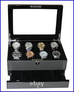 Quality Carbon Fibre Watch Luxury Case Storage Display Box Jewellery Watches N