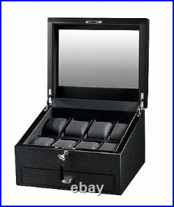 Volta 8 Watch Case Carbon Fiber Display Box with See Through Glass and Drawer